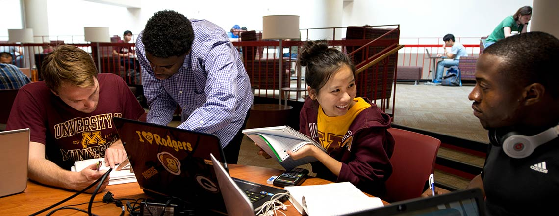 Minnesota students studying and working together